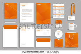 corporate identity design corporate identity design template orange polygonal stock vector