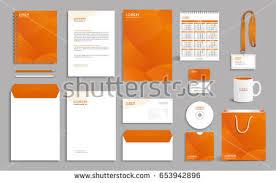 corporate identity design template orange polygonal stock vector - Corporate Identity Design