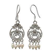 pearl chandelier earrings pearl chandelier earrings pearl earrings at novica