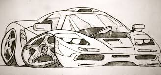 cartoon sports car side view drawn car sketch pencil and in color drawn car sketch