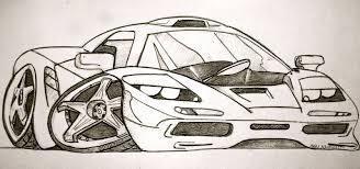 cartoon sports car side view drawn car sketch pencil and in color drawn car sketch