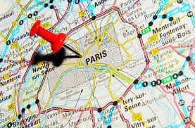 Map Paris France by London Uk 13 June 2012 Paris France Marked With Red Pushpin