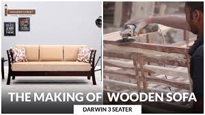 Wooden Sofa Set Images Making Of 3 Seater Wooden Sofa U2013 Buy Darwin 3 Seater Wooden Sofa