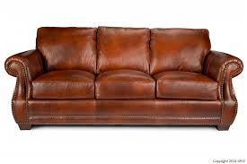 traditional top grain leather sofa with nailhead trim by usa