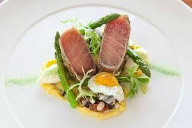 restaurant cuisine nicoise seared tuna saffron rouille asparagus nicoise salad and fried