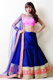 exclusive bollywood style model silk and raw silk lehenga in blue