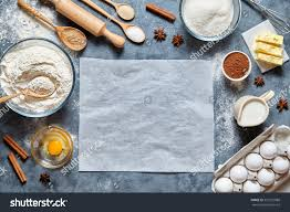 Homemade Kitchen Table by Dough Preparation Recipe Homemade Bread Pizza Stock Photo
