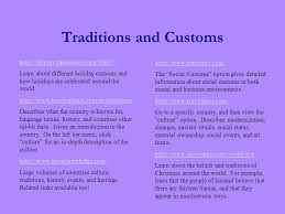 traditions and customs site purpose to provide a central