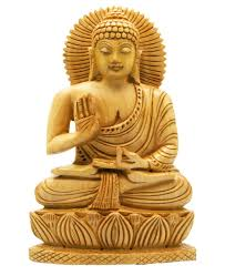 carved wood sitting buddha statue