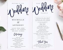 Modern Wedding Program Elegant Calligraphy Wedding Program Template Modern Wedding