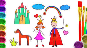 how to draw prince and princess coloring page for kids learn