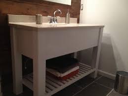 Open Shelf Bathroom Vanity Open Shelf Bath Vanity Sink Cabinet Modern Slatted Shelf