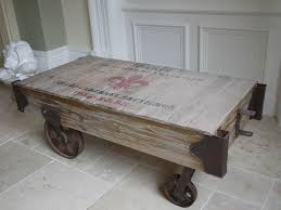 Wooden Coffee Table With Wheels by Retro Industrial Railway Wooden Coffee Table On Wheels Pallet