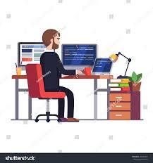 professional programmer engineer working writing code stock vector