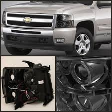 2011 chevy silverado smoked tail lights chevy silverado 2007 2013 smoked halo projector headlights with led