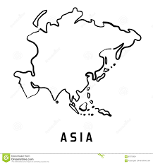 Blank Continent Map by Asia Simplified Map Stock Vector Image 87375934