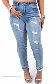 Destroyed High Waisted Jeans High Waist Distressed Destroyed Perfect Fit Skinny Jeans