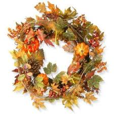 fall wreaths fall garland wreaths fall decorations the home depot