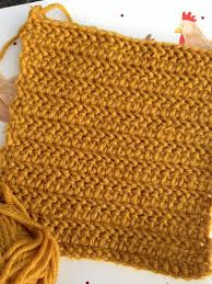 instructions to make a herringbone half treble crochet stitch