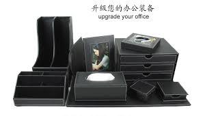 accessoire bureau luxe 10 pcs ensemble de bureau en cuir bureau fichier papeterie