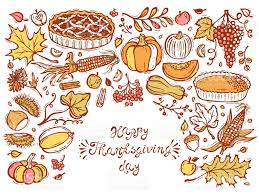 happy thanksgiving day greeting card cakes fruits vegetables