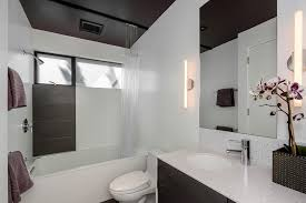 corner shower curtain rod in bathroom modern with modern living