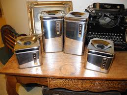 vintage kitchen canister set silver tone beauty ware canisters flour sugar tea coffee retro