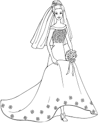 barbie doll wearing a wedding dress coloring pages kids coloring
