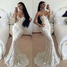 white lace prom dress 2017 white lace mermaid prom dresses sweetheart sleeveless sweep