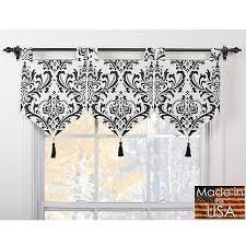 Damask Kitchen Curtains Arbor Ivory Black Banner Valances Set Of 3 Arbor Banner Valance
