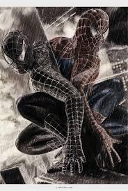 handdrawn drawing spiderman 3 movie poster u2013 blue red