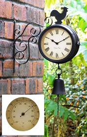 Patio Clock And Thermometer Sets by Amazon Com Cockerel And Bell Outdoor Clock And Thermometer