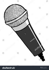 hand drawn cartoon vector illustration microphone stock vector