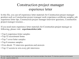 Sample Resume For Project Manager Position by Constructionprojectmanagerexperienceletter 140823110137 Phpapp02 Thumbnail 4 Jpg Cb U003d1408791721