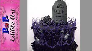 halloween graveyard stringwork cake youtube