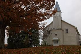 country church cloudy sky autumn leaves structures free nature