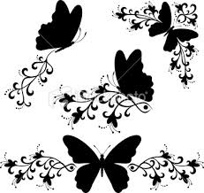 black and white vector illustration of butterflies frames corners