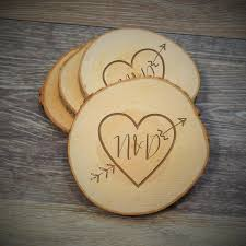 save the date coasters arrow heart wood slice coaster rustic wood coaster custom save