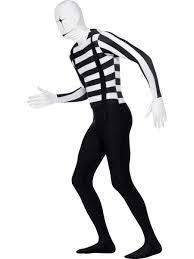 2nd skin halloween costumes mens mime clown french artist second skin halloween fancy dress
