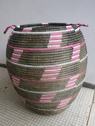 huge sturdy laundry basket african style hamper red or pink and