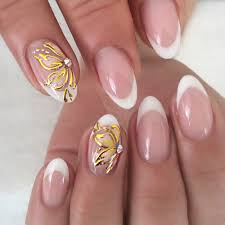 goda flawless nails short oval french flower design on 2 nails