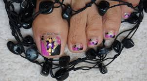 gothic halloween toes art design tutorial how to bright pink and