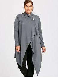 plus size one button asymmetrical cardigan gray plus size
