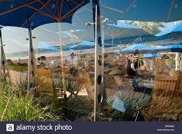 outdoor patio boathouse at hendry u0027s beach santa barbara stock