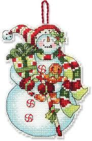 snowman with ornament cross stitch kit