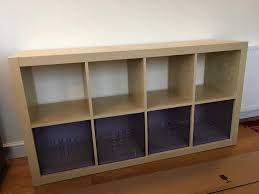 ikea kallax expedit shelf with 4 storage boxes birch effect in
