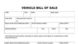 bill of sale template car bill of sale vehicle template