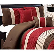 Burgundy And Brown Comforter Set Amazon Com 7 Pc Modern Black Burgundy Red Brown Suede Comforter