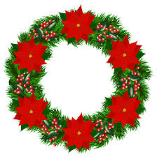 christmas wreath with poinsettia png clipart image gallery