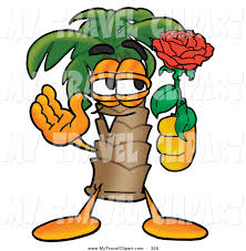 clipart of a romantic smiling palm tree mascot cartoon character